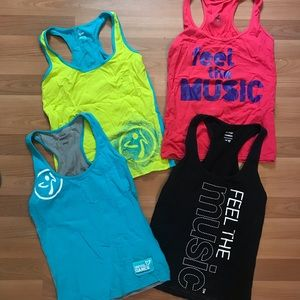 Lot of 4 Zumba fitted tanks